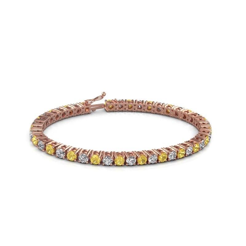 Tennis bracelet Karin 375 rose gold yellow sapphire 4 mm