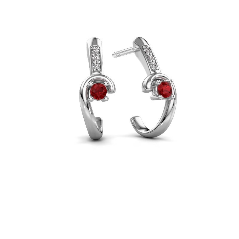 Earrings Ceylin 950 platinum ruby 2.5 mm