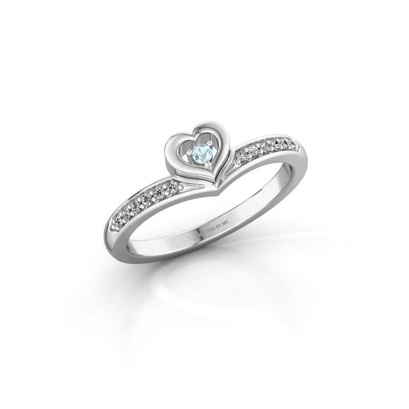 Ring Mimi 950 platina aquamarijn 2 mm