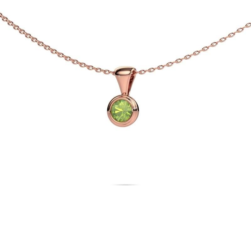 Ketting Lieke 375 rosé goud peridoot 4 mm