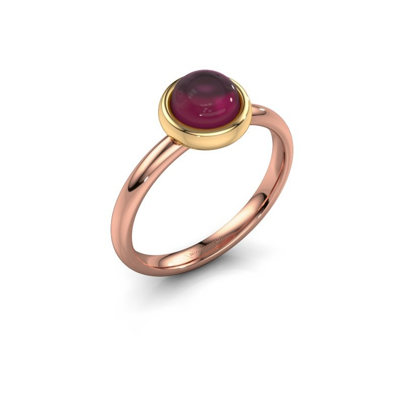 Bague Blossom 585 or rose rhodolite 6 mm