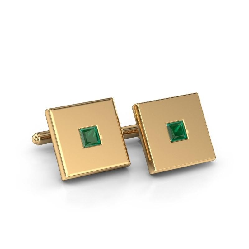 Cufflinks Givanti 585 gold emerald 4 mm