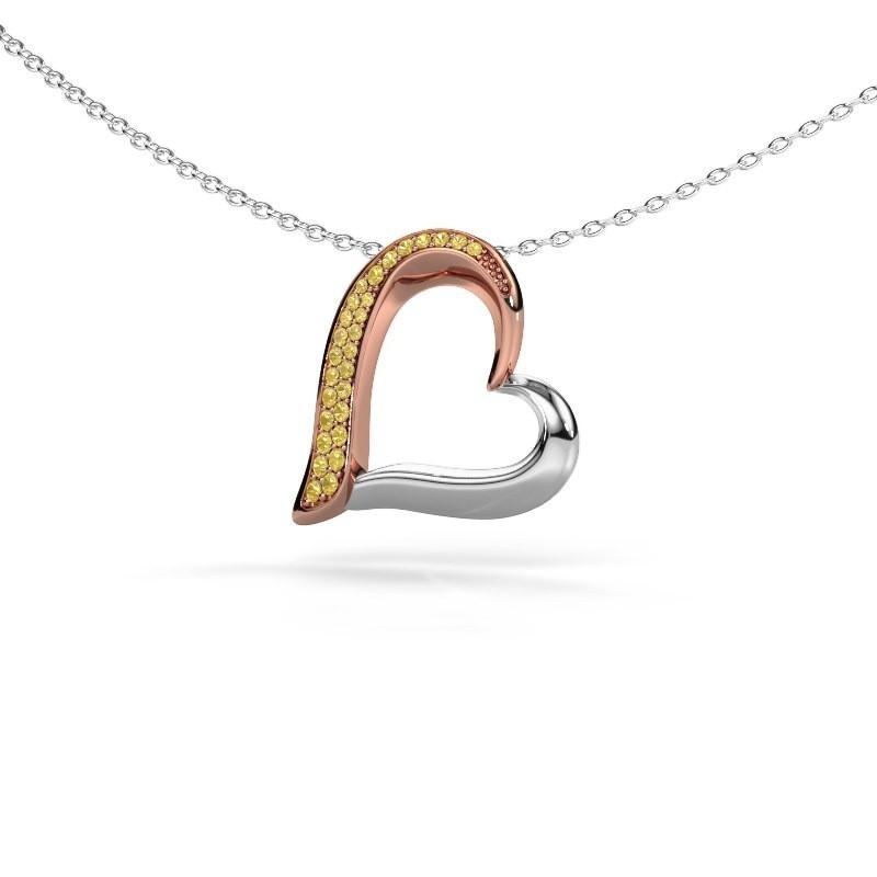 Halsketting Heart 1 585 rosé goud gele saffier 1.2 mm