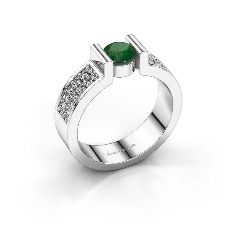 Verlovingsring Isabel 3 950 platina smaragd 5 mm