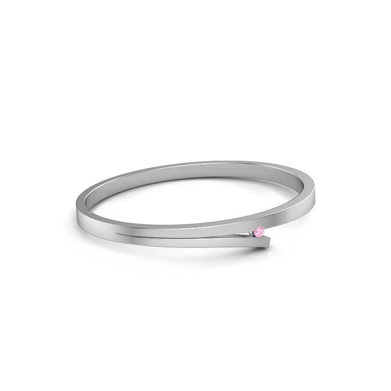 Slavenarmband Rosario 585 witgoud roze saffier 3 mm