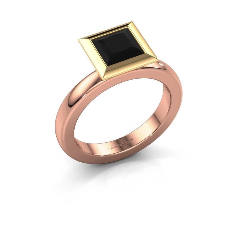 Stapelring Trudy Square 585 rosé goud zwarte diamant 1.56 crt