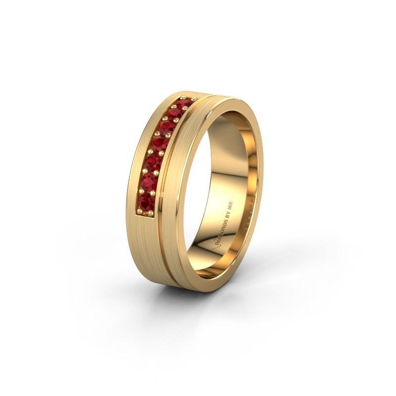 Trouwring WH0312L16AM 585 goud robijn ±6x1.7 mm