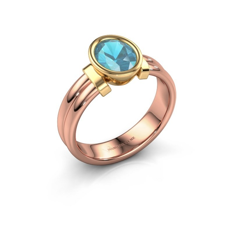 Ring Gerda 585 rose gold blue topaz 8x6 mm