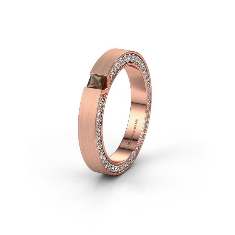 Wedding ring WH2140L14B 375 rose gold smokey quartz ±3,5x2 mm