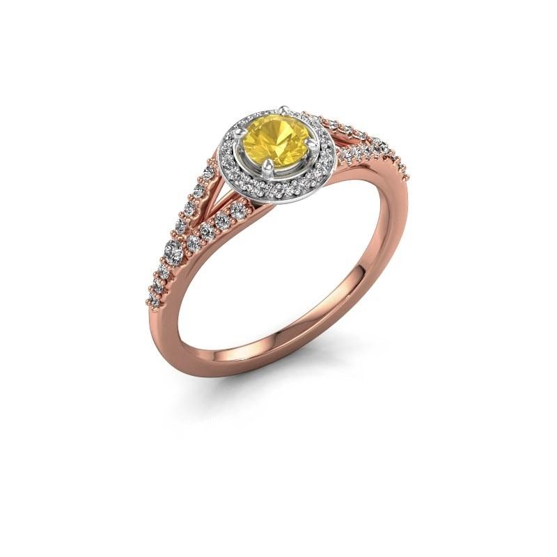 Verlovingsring Pamela RND 585 rosé goud gele saffier 4 mm