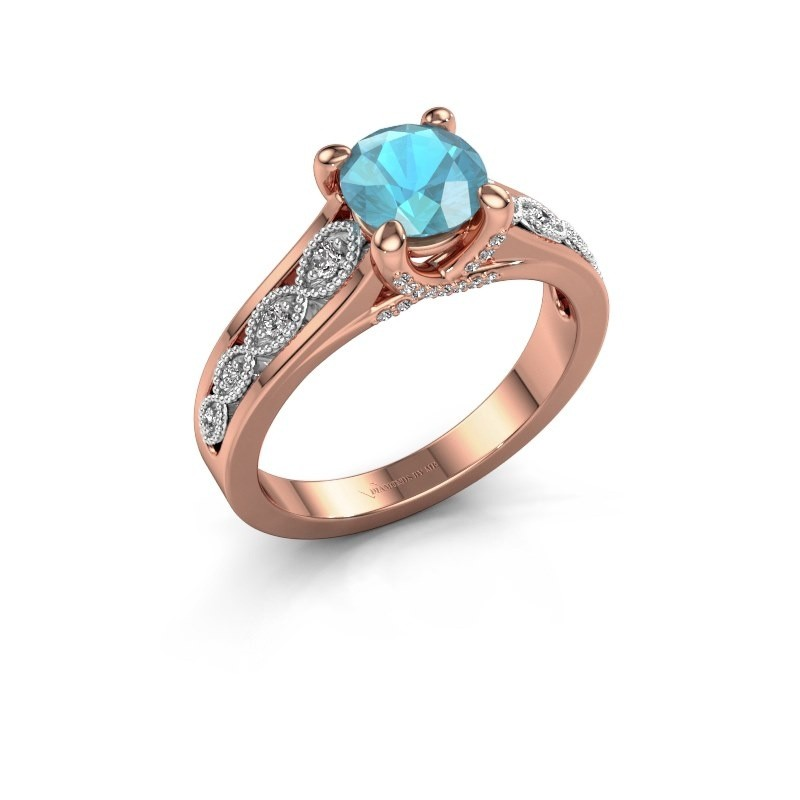 Engagement ring Clarine 585 rose gold blue topaz 6.5 mm