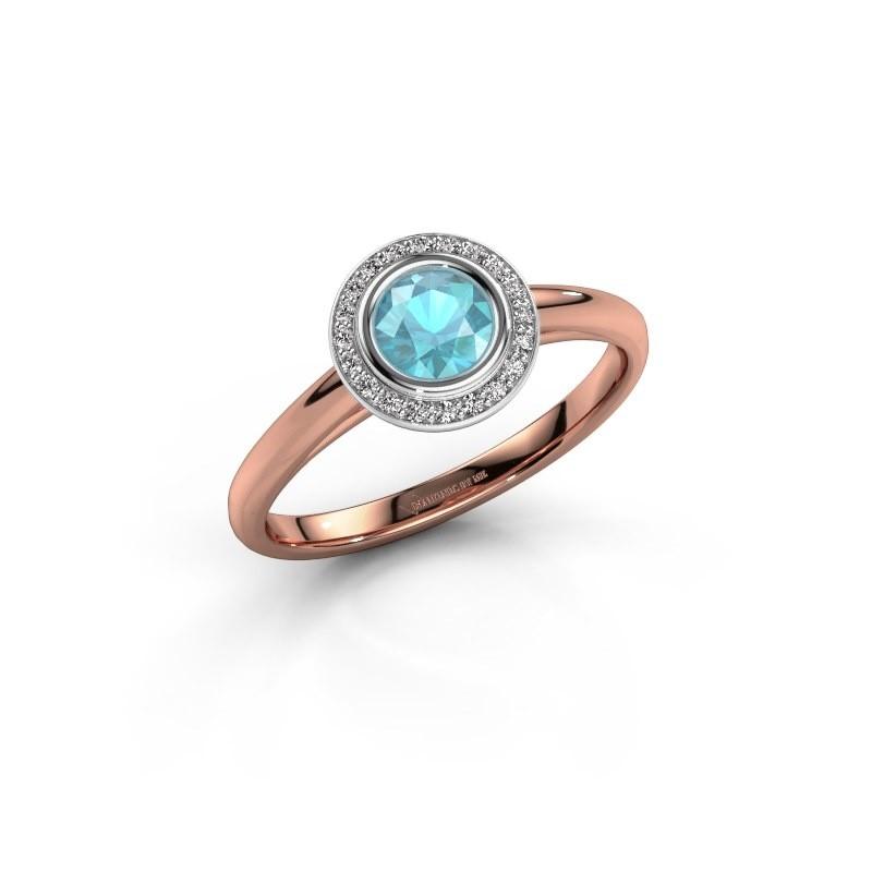 Promise ring Noud 1 RND 585 rosé goud blauw topaas 4.7 mm