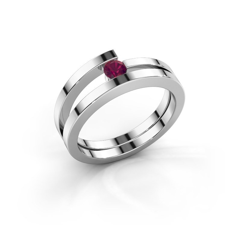 Ring Sandy 585 witgoud rhodoliet 3.4 mm