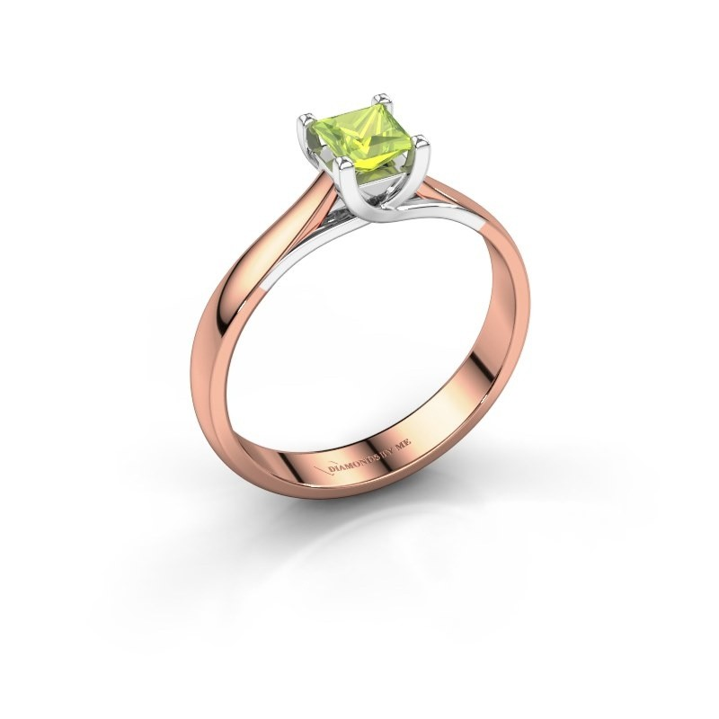 Engagement ring Mia Square 585 rose gold peridot 4 mm