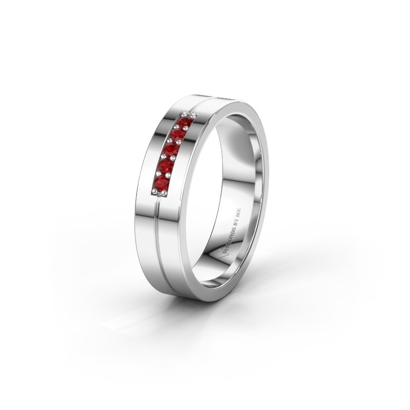 Wedding ring WH0211L15AP 585 white gold ruby ±0.20x0.07 in