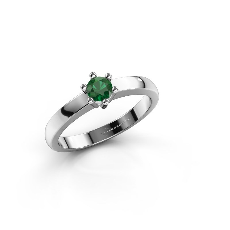 Verlovingsring Luna 1 950 platina smaragd 3.7 mm