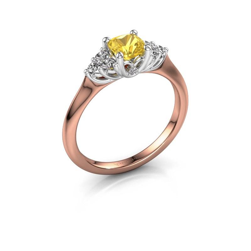 Verlovingsring Felipa CUS 585 rosé goud gele saffier 5 mm