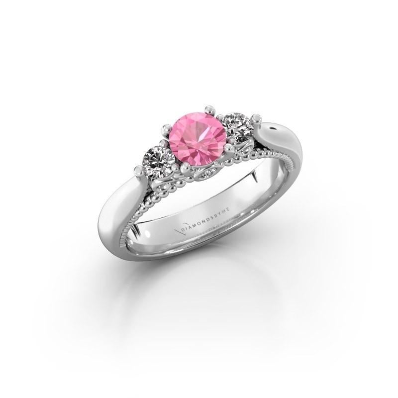 Verlovingsring Tiffani 585 witgoud roze saffier 5 mm