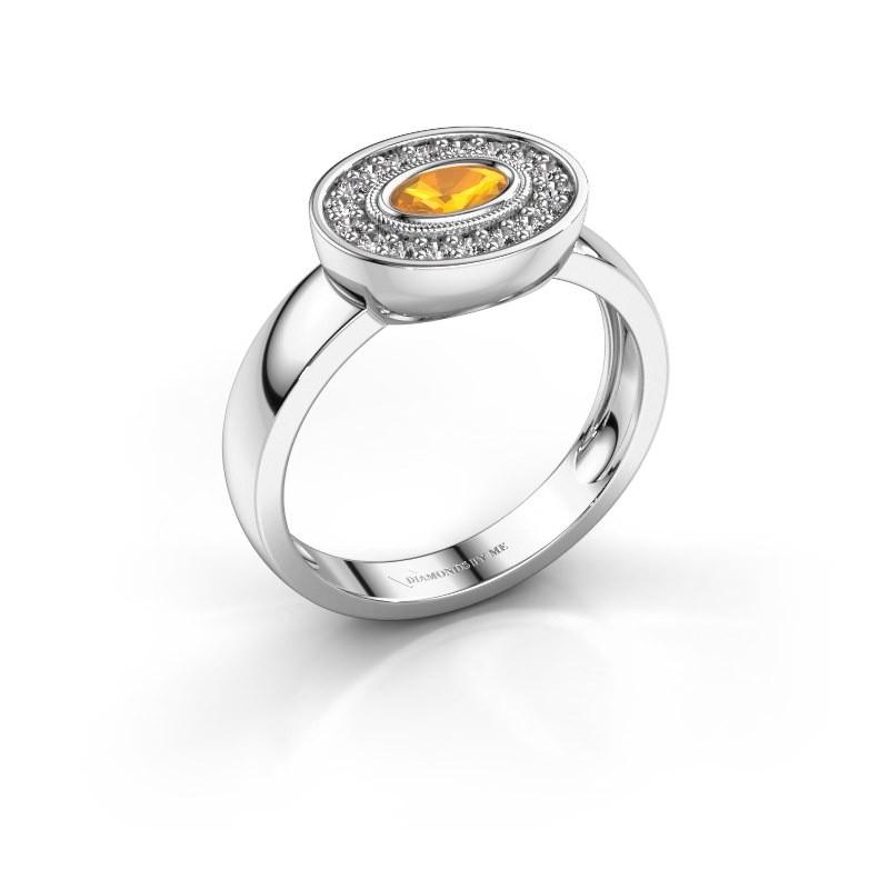 Ring Azra 585 white gold citrin 5x3 mm