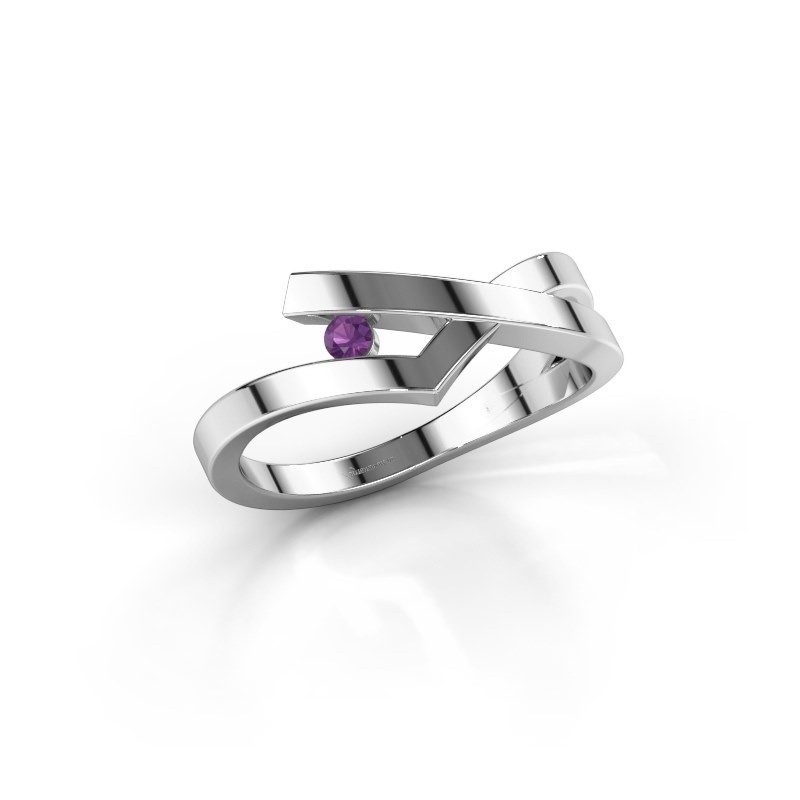 Ring Pamella 585 witgoud amethist 2.2 mm