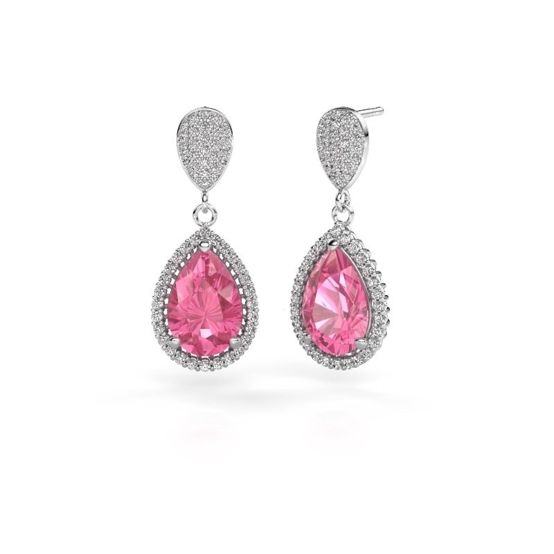 Oorhangers Cheree 2 950 platina roze saffier 12x8 mm
