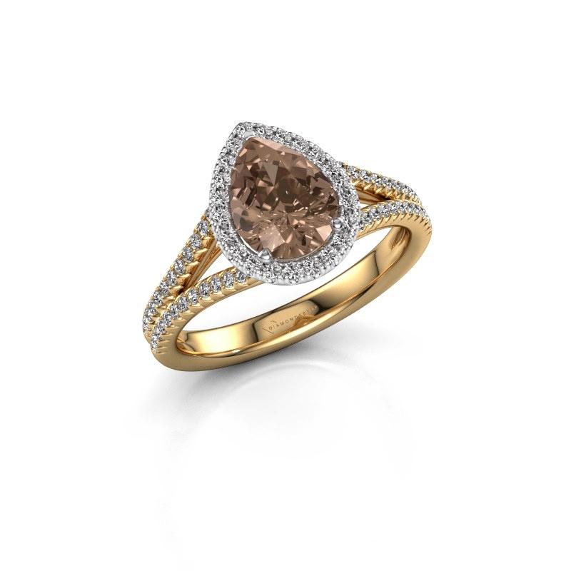 Verlovingsring Verla pear 2 585 goud bruine diamant 1.337 crt