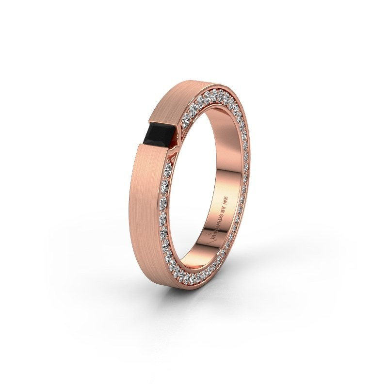 Wedding ring WH2140L14B 375 rose gold black diamond ±3,5x2 mm