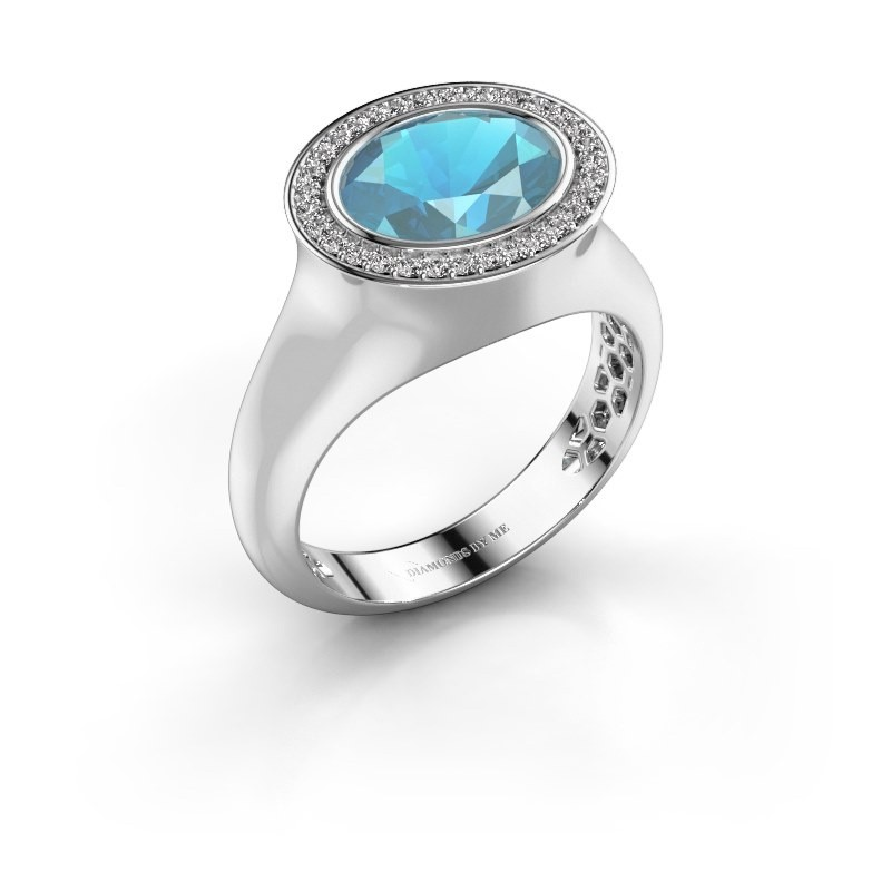 Ring Phebe 375 white gold blue topaz 10x8 mm