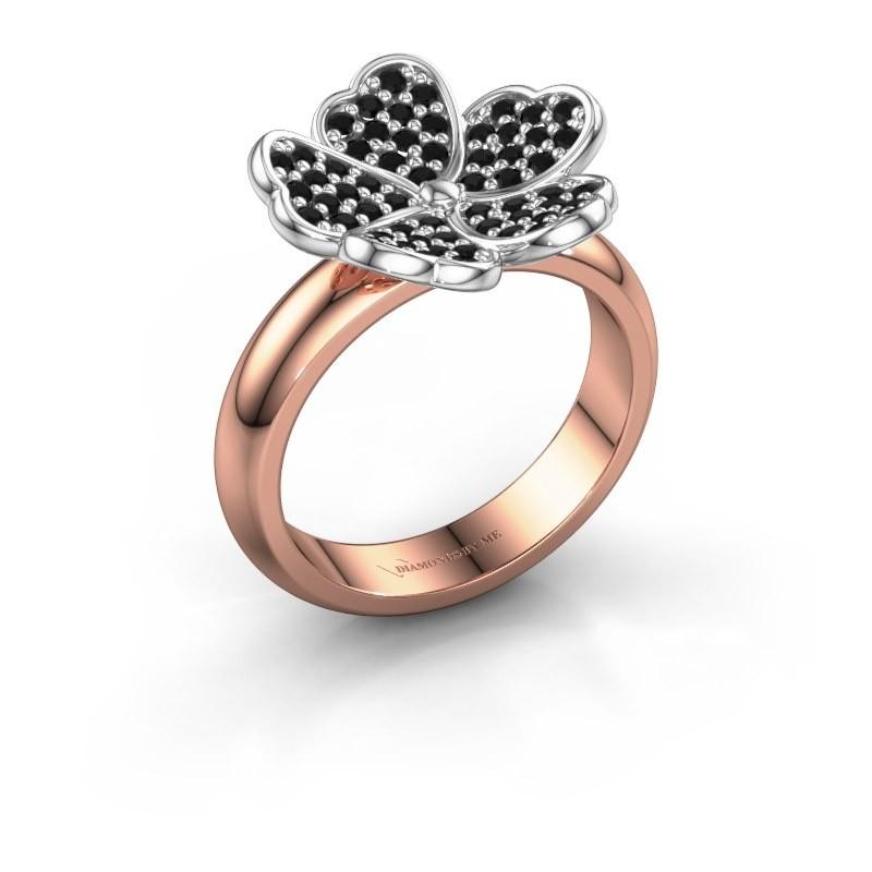 Ring Daphne 585 rosé goud zwarte diamant 0.540 crt