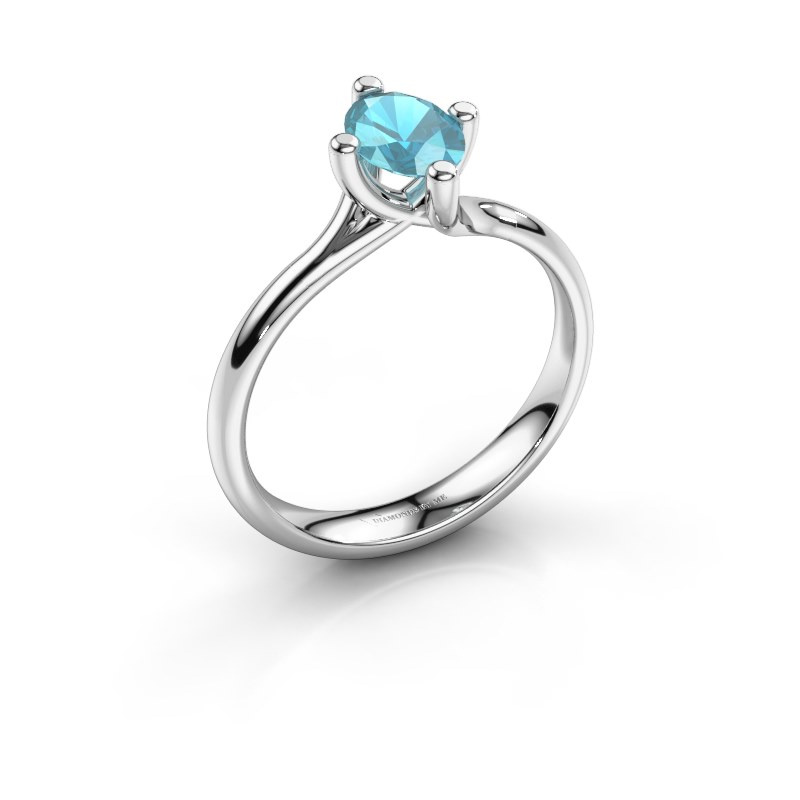 Engagement ring Dewi Oval 950 platinum blue topaz 7x5 mm