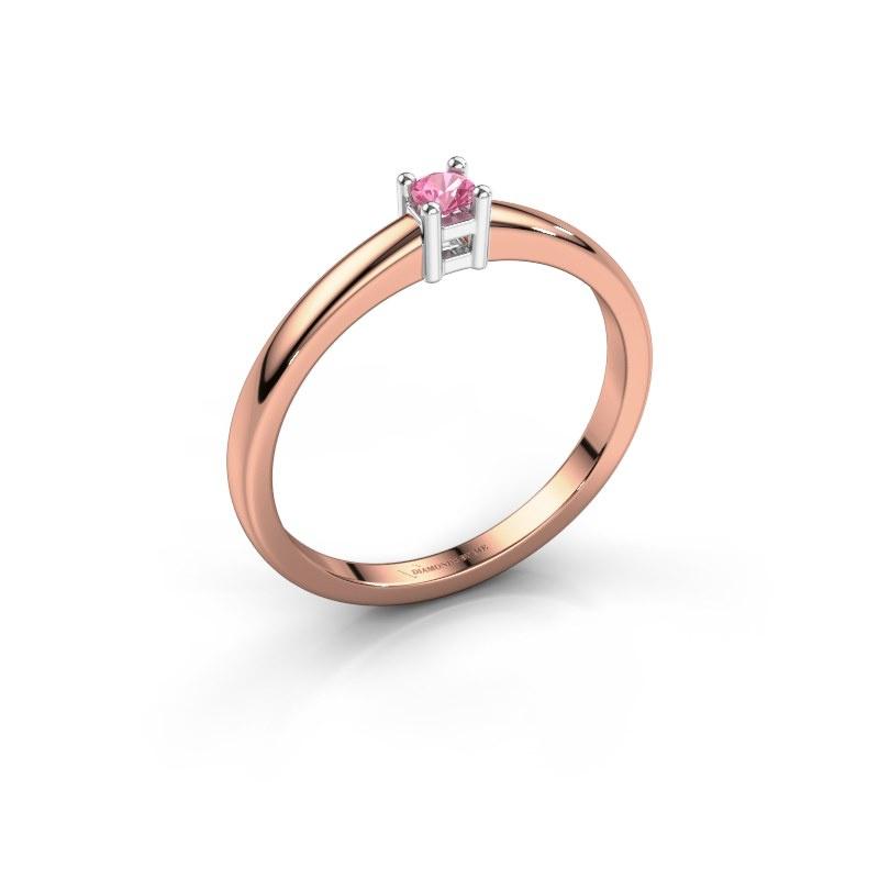 Promise ring Eline 1 585 rosé goud roze saffier 3 mm