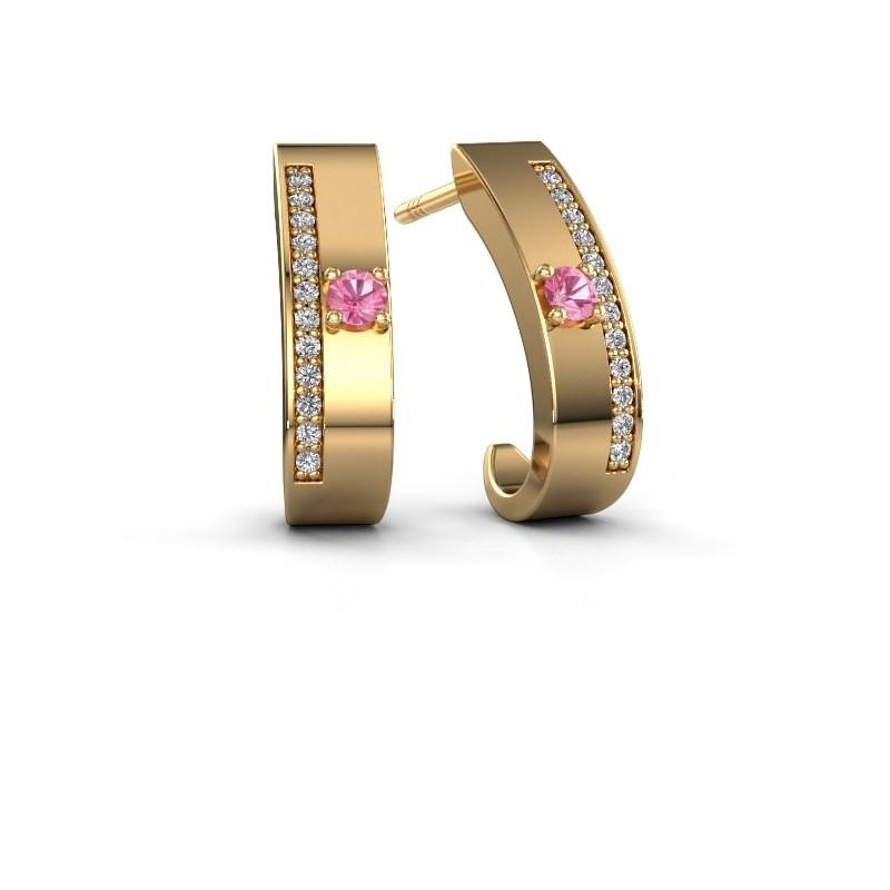 Oorbellen Vick1 375 goud roze saffier 2.4 mm