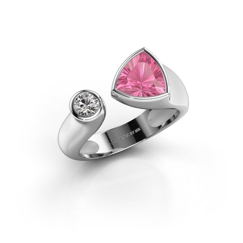 Ring Latisha 950 platina roze saffier 7 mm