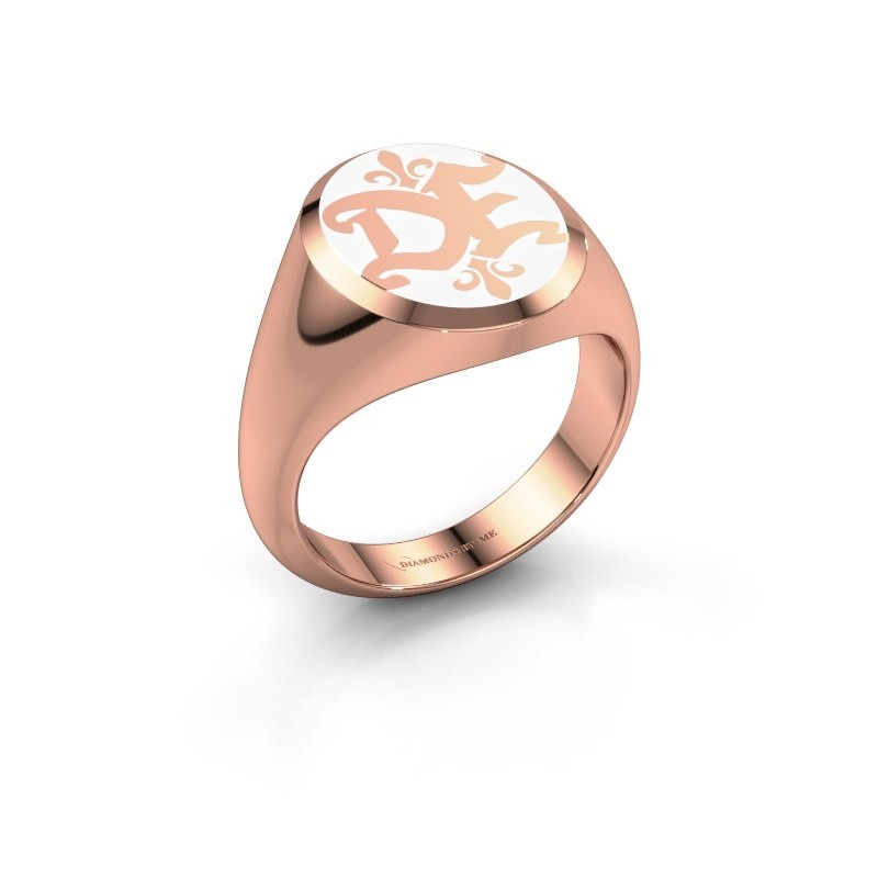 Monogram ring Xandro Emaille 375 rosé goud witte emaille