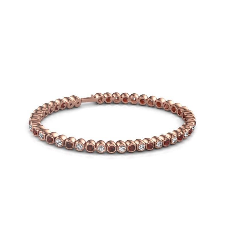 Tennisarmband Asley 375 rosé goud granaat 3 mm