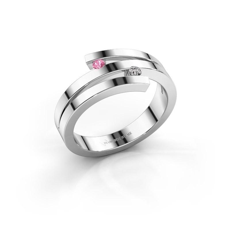 Ring Roxane 585 witgoud roze saffier 2 mm