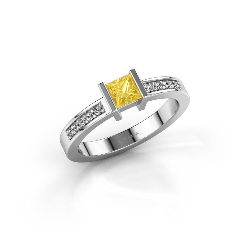 Engagement ring Jordan 950 platinum yellow sapphire 4 mm