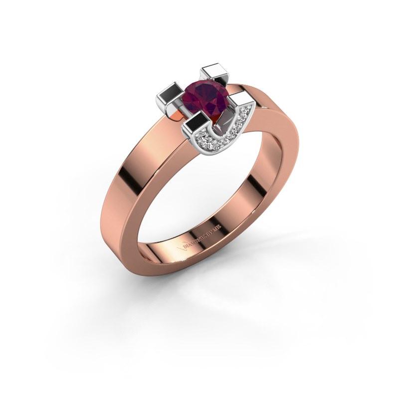 Verlovingsring Jasmijn 1 585 rosé goud rhodoliet 4.2 mm