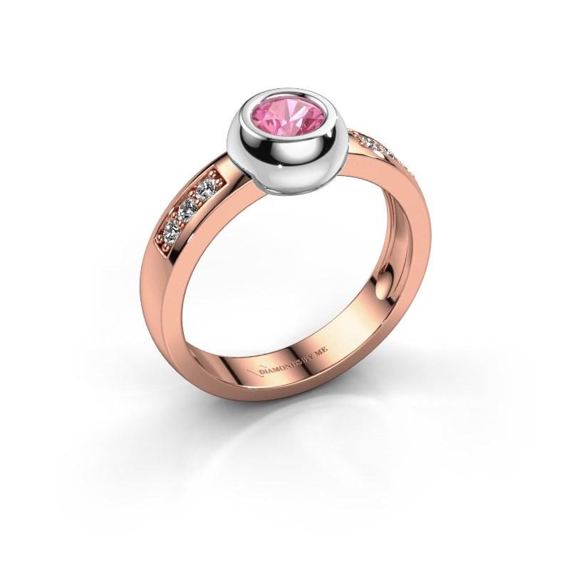 Ring Charlotte Round 585 rosé goud roze saffier 4.7 mm