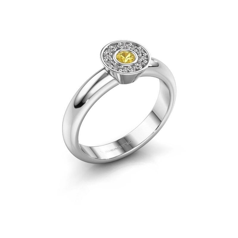 Bague Fiene 585 or blanc saphir jaune 2.8 mm