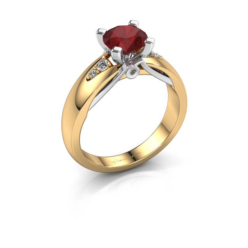 Verlovingsring Ize 585 goud robijn 6.5 mm