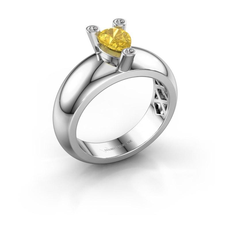 Ring Cornelia Pear 585 white gold yellow sapphire 7x5 mm