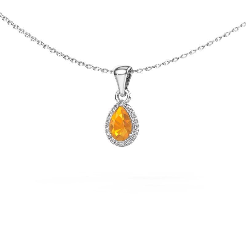 Halskette Seline per 585 Weißgold Citrin 6x4 mm