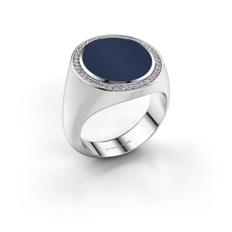 Zegelring Adam 5 585 witgoud donker blauw lagensteen 15x13 mm
