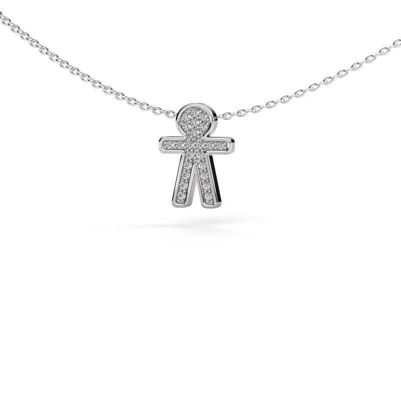 Hanger Boy 925 zilver diamant 0.115 crt