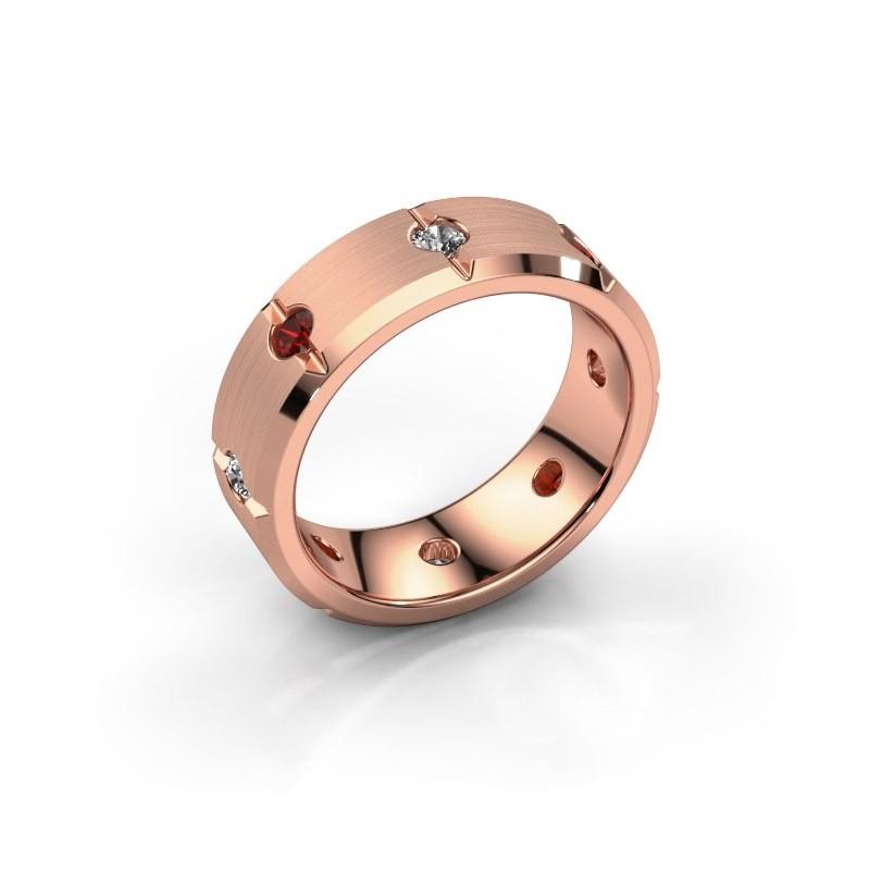 Herren ring Irwin 375 Roségold Granat 2.7 mm
