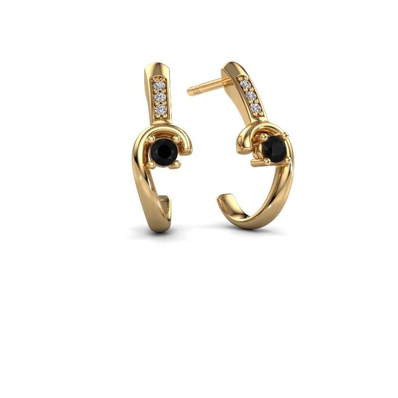 Oorbellen Ceylin 585 goud zwarte diamant 0.184 crt