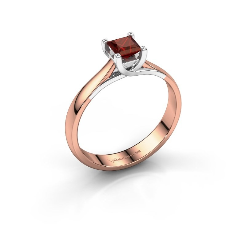 Engagement ring Mia Square 585 rose gold garnet 4 mm