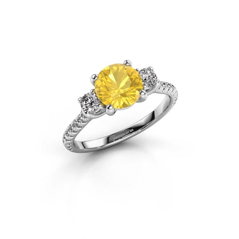 Verlobungsring Jesica 585 Weißgold Gelb Saphir 7 mm