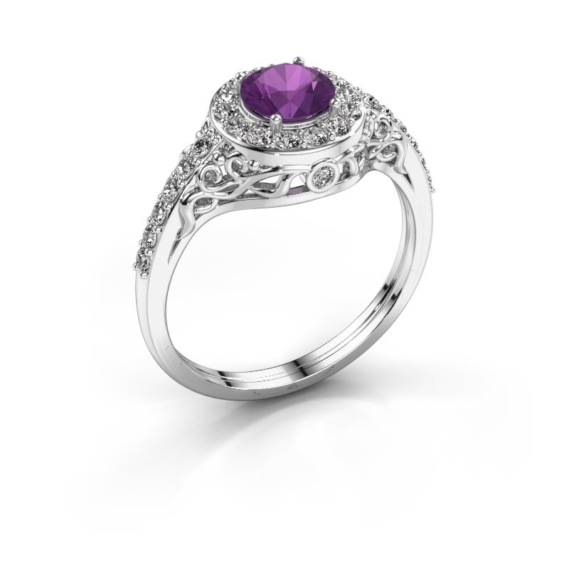 Ring Yurani 585 witgoud amethist 6 mm